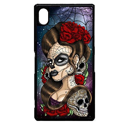 """Day of the dead, motivo """"sugar skull-rose tattoo cool graphic art-Custodia in plastica rigida per Xperia Sony Z5"""