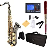 Mendini by Cecilio MTS-BNG+92D Black Nickel Plated and Gold Keys B Flat Tenor Saxophone with Tuner, Case, Mouthpiece...