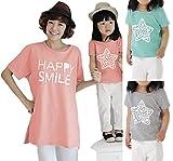 K-grasso+ キッズ 親子 ペア プリント Tシャツ (全3色) 半袖 トップス カットソー 女の子 男の子 ママ チュニック 普段着 パジャマ 90 100 110 120 130 M L (20. グレー M)