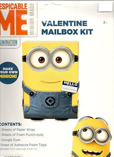 "Despicable Me Minion Valentine Mailbox Kit (Box Not Included) Designed to Decorate a Box 8.25"" x 11.75"" x 5 """