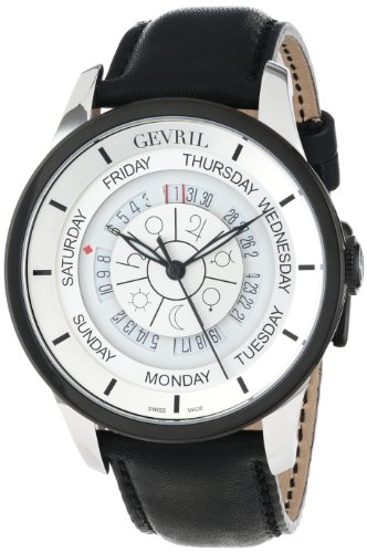 Gevril Men's 2002_Set Columbus Circle Automatic Black Leather Watch and Ballpoint Pen Watch Set
