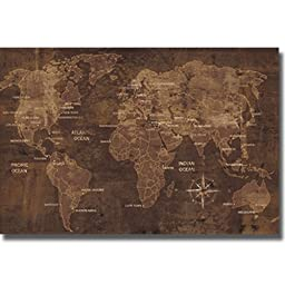 The World by Luke Wilson Premium Stretched Canvas Map (Ready to Hang)