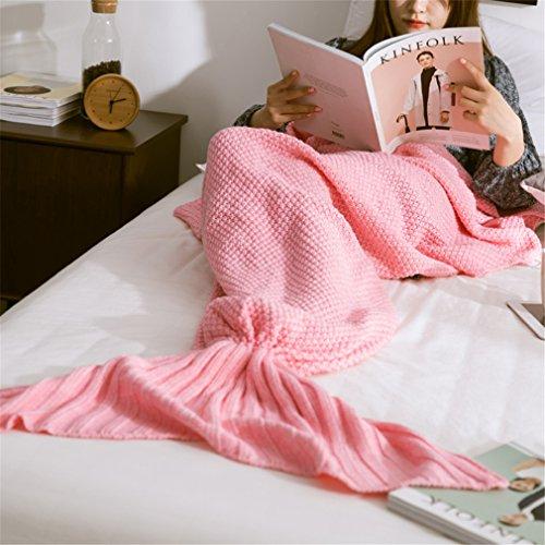 HENGSONG Meerjungfrau Decke, Handgemachte Häkeln Decke Meerjungfrau Schwanz für Erwachsene, Mermaid Blanket Schlafsack (Rosa) thumbnail