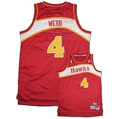 NBA Atlanta Hawks Red Swingman Jersey Spud Webb #4 by adidas