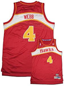NBA Atlanta Hawks Red Swingman Jersey Spud Webb #4 by adidas