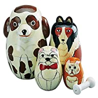 Nesting Dogs-Hand Painted Wooden Nesting Dolls Matryoshka – Set of 5 Dolls From 5″ Tall