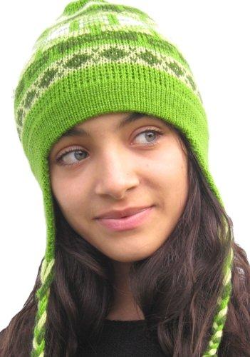 Handmade Alpaca Natural Fiber Hat - Apple Green