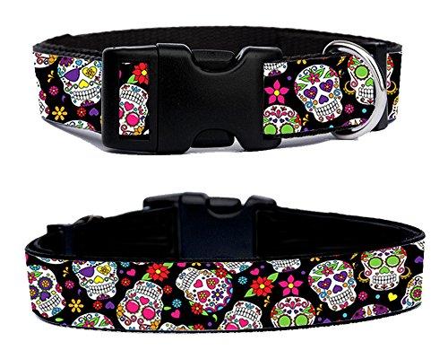 Calaveras de Azucar Dia de los Muertos Sugar Skull Day of the Dead Collar Perro Dog Collar Ajustable Talla M