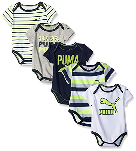 PUMA Baby Boys' 5 Pack Bodysuit Pack, Light Heather Grey, 0/3M