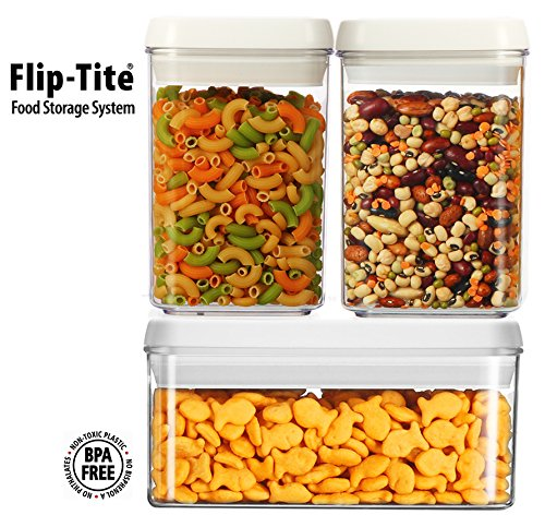 (Functional Storage Container) Flip-Tite Canister Collection. 3Pcs Set, Crystal Clear Tab (Square/2Size) Perfect For Sugar, Flour, Rice, Cereal, Coffee, Snacks.