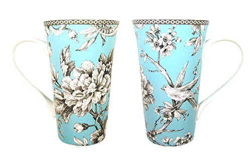 222 Fifth Adelaide Turquoise Fine Porcelain Tall Latte Mug Set of 2 (Gracie China Cake Stand compare prices)