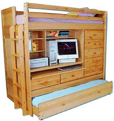 Full Loft Beds: BUNK BED ALL IN 1 LOFT WITH TRUNDLE DESK CHEST CLOSET ...