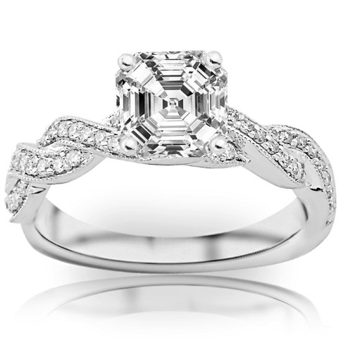Price Comparisons 0.98 Carat Asscher Cut / Shape GIA Certified Vintage / Antique Twisting Split Shank Diamond Engagement Ring With Milgrain ( I Color , VS1 Clarity )