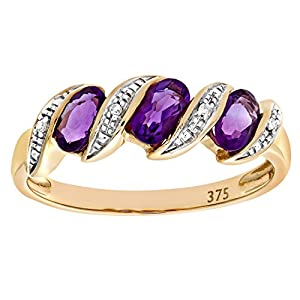 Ariel Eternity Ring, 9ct Yellow Gold Diamond and Amethyst Ring