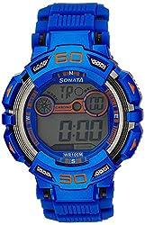 Sonata Digital Grey Dial Mens Watch - 77009PP04