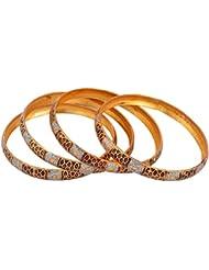 Handicraft Kottage Gold Metal Bangle Set For Women - Set Of 4 (HK-ABGM-3203)
