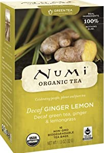 Numi Organic Tea Ginger Sun, Full Leaf Lemon Decaf Green Tea, 16-Count Tea Bags (Pack of 3)