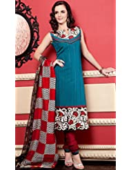 Exotic India Ivy-Green Printed Choodidaar Kameez Suit With Metallic - Ivoy-Green