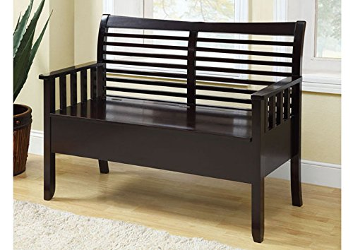 "CAPPUCCINO SOLID WOOD 48""L BENCH WITH STORAGE (SIZE: 48L X 21W X 36H)"