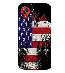PrintDhaba US Flag D-2080 Back Case Cover for LG GOOGLE NEXUS 5 (Multi-Coloured)