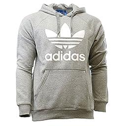 adidas Originals Men\'s Originals Trefoil Hoodie, Medium Grey Heather/White, Large
