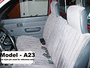A23 Toyota Pickup 1990 - 1995 Front Solid Bench Premium Regal Fabric Gray Grey Seat Covers, Molded Headrests, Manual Controls, Seat Belt Cutout, Custom Made Exact Fit Bench Seat Covers