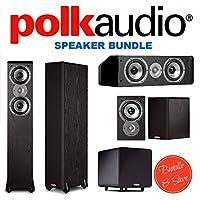 2 Polk Audio TSi300 Floorstanding Speaker + Polk Audio TSi100 Bookshelf Speakers (Pair, Black) + Polk Audio CS10 Center Channel Speaker (Single, Black) + Polk Audio PSW111 Subwoofer (Single, Black)