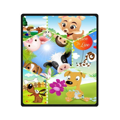 "Personalized Cute Dogs Jigsaw Blanket 50""X 60""(Medium) front-923326"