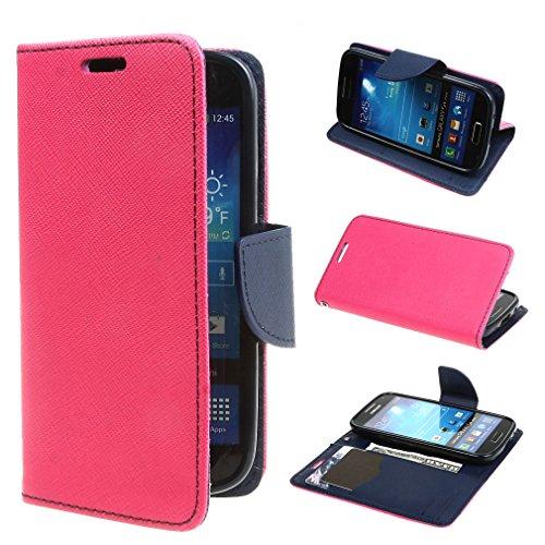ivencase 保護 スタンド ケース case カバー かわいい フリップ 手帳型 手帳 PUレザー 横開き Samsung i9190 / i9192 Galaxy S4 mini ローズ
