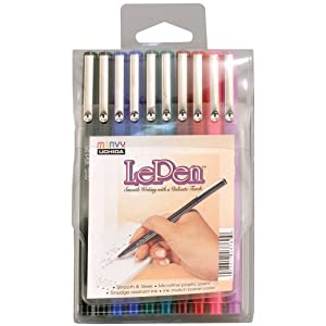 Uchida Le .03mm Point Pen Set, 10-Pack, Multicolor