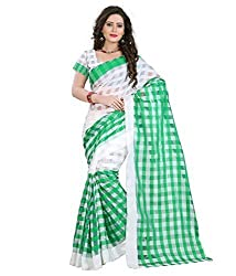 Morpankh enterprise Green Cotton Saree ( cotton green saree )