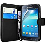 Connect Zone® Black Premium PU Leather Wallet Flip Case Cover For Samsung Galaxy Ace 4 G313H + Screen Protector + Polishing Cloth & Mini Touch Screen Stylus (THIS CASE WILL NOT FIT THE SAMSUNG GALAXY ACE 4 G357)