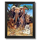 Elephant Giraffe Rhino African Wildlife Wall Picture Black Framed Art Print