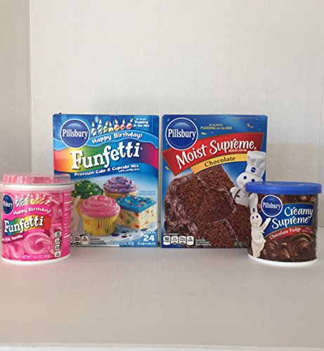 Valentine Day Baking Bundle Variety: Pillsbury Funfetti Cupcake Mix, Hot Pink Vanilla Frosting with Sprinkles & Chocolate Cake Mix with Pudding, Plus Creamy Supreme Chocolate Fudge Frosting (4 Items) (Pillsbury Plus Cake Mix compare prices)