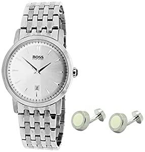 Hugo Boss PACK1510006 - Reloj de pulsera hombre, acero inoxidable, color plateado