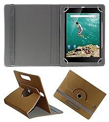 Acm Designer Rotating 360° Leather Flip Case For Htc Google Nexus 9 Tablet Stand Premium Cover Golden