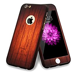 iPhone 6/6s Full Body Hard Case-Aurora Flexible Plastic Front and Back Cover with Tempered Glass Screen Protector for iPhone 6/6s 4.7 Inch (Black wood pattern)