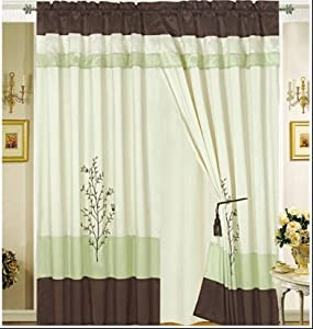 Octorose Pair Of Sage Green Brown Beige Embroidery Design Window Curtain