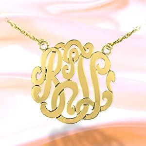 Monogram Necklace 1 1/2 inch 24K Gold Plated Sterling Silver Handcrafted Cutout Personalized Initial Necklace - Made in USA