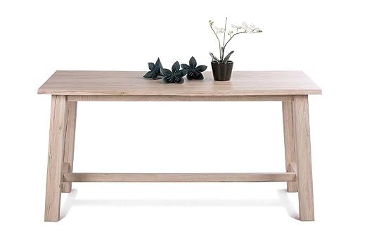 Tisch in Sanremo Sand NB,Tischplatte aus 28 mm Plattenstärke, Längsseiten in Vollholz-Optik, dezente Verbindungsstellen,Maße: B/H/T ca. 160/78/90 cm