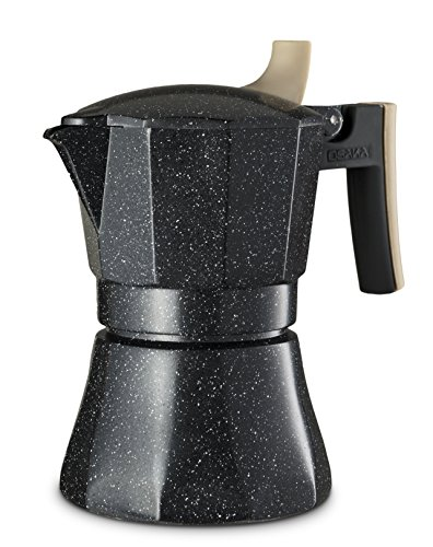 "Osaka Stovetop Espresso Maker - Aluminum with Marbled Coating, Stove-Top Moka Pot ""Nijo Castle"" (3 Cup)"