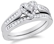 10K White Gold Diamond Ladies Bridal Engagement Ring with Matching Wedding Band Two 2 Ring Set -…