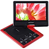 """DBPOWER 9.5"""" Portable DVD Player, 2 Hours Rechargeable Battery, Swivel Screen, Supports SD Card and USB, Direct Play in Formats MP4/AVI/RMVB/MP3/JPEG (9.5"""" Red)"""