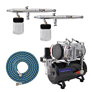 MASTER Airbrush S62 Pro Set the TC-828 Twin Piston Air Compressor
