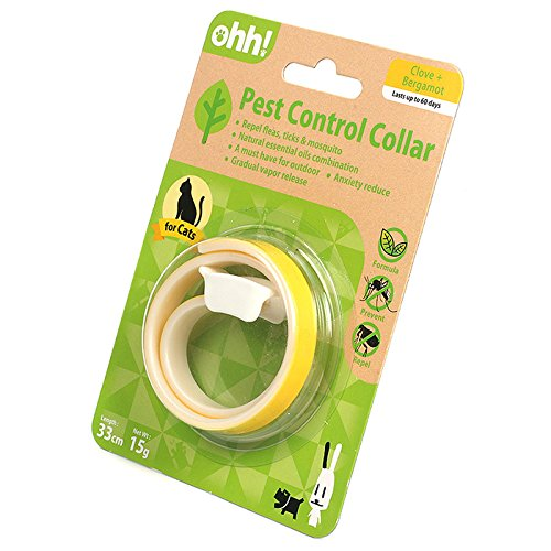 OHH New Natural Essential Oil Pest Control Collar Repel Flea Tick for Cat Kitty (Yellow)