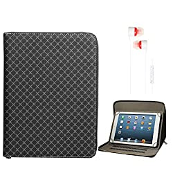 DMG Premium Stitched Durable Portfolio Bag with Accessory Pockets for Vizio Vz-706 (Textured Black) + White Stereo Earphone with Mic and Volume Control