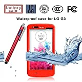 LG G3 Case, Sophia Shop LG G3 Full-body Protective Waterproof Case, Slim Fitted [IP-68 6.6 ft Underwater Waterproof] [Shock Proof] [Dust Proof] [Dirt Proof] [Snow Proof] Hard Shell Triple Layer with Built-in Kick-Stand Armor Cover Case for LG G3 D850 D85 D855 VS985 LS990 Carrier Compatibility AT&T, Verizon, T-Mobile, Sprint, And All International Carriers with Retail Packing (Red)