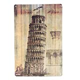 Leaning Tower Of Pisa Tin Sign Vintage Metal Plaque Bar Wall Decor
