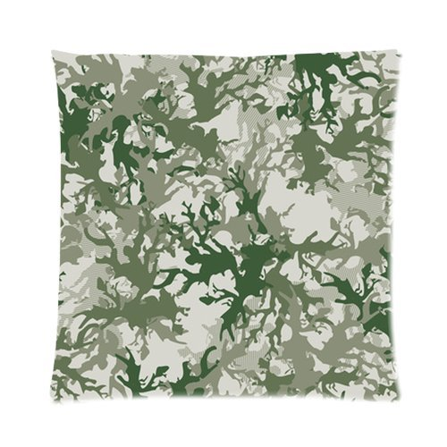 """Fashion Gray And Green Camo Print Custom Zippered Pillow Cushion Case Throw Pillow Covers 16""""X16""""(Two Sides) Fabric Cotton And Polyester front-912767"""