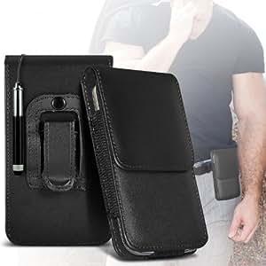 ONX3 LG G3 Schutzkleidung PU Leather Pouch Belt magnetischen Holster Flip Case Skin Cover + Mini Kapazitive des Klappdachs Stylus Pen (Schwarz)